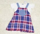 Baby Infant Toddler Girls Red Blue Checks Strap Pattern Romper 6-18 months