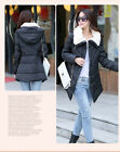 Winter Women Fur Collar Warm Long Hooded Down Cotton Slim Coat Outwear Jackaet