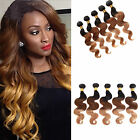 50g Ombre Hair Extensions Brazilian Virgin Hair Body Wave Three Color 1b33#27#