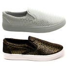 Ladies Plimsolls Womens Canvas Slip On Trainers Girls School Pumps Shoes Sizes
