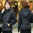 Women Winter Warming Thicken Polka Dot Hooded Cotton-Blend Coat Outwear Jacket