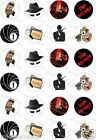 24 x PRECUT SPY MISSIONS/SECRET AGENT RICE/WAFER PAPER CUP CAKE TOPPERS