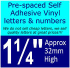 """QTY of: 9 x 1¼"""" 32mm HIGH STICK-ON  SELF ADHESIVE VINYL LETTERS & NUMBERS¼"""