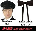 CHAUFFEUR Driver HAT Black Dickie Bow Chauffeurs Wedding Prom Limo Dads Taxi