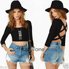 Womens Sexy Backless Crew-Neck Cropped Cross Tops Blouse T-Shirt Clubwear Black