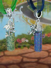 DRAGON SCALES PENDANT CHARM NECKLACE GLASS BOTTLE VIAL ORGANZA RED GREEN BLUE