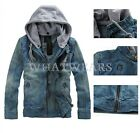 2014 Fashion Mens Casual Denim Jacket Coat Jeans Hooded Jackets Slim Fit WFR