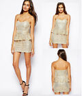 WOMENS GLAMOROUS SEQUIN PEPLUM DRESS - GOLD - RRP£49.99 - NEW