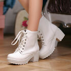 Gothic Women chunky High Heel round toes lace-up block Ankle punk boots shoes