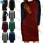 Womens Ladies Contrast Chunky Knitted Baggy Sweater Jumper Dress Top Plus Size