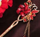 2014 New Design Hair Stick Rhinestone Red/Purple crystal Flower Chains Hairpin