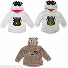 Kids Girls Boys Thick Fleece Reindeer Christmas Hooded Jumper Teddy Sweatshirt