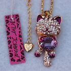 Betsey Johnson Small Cat Crystal pendant necklace Free shipping