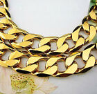Genuine 18K 18CT GOLD GF CHUNKY RING FLAT CURB CHAIN Solid Womens Men's NECKLACE