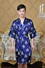 blue Chinese Silk/satin men's Kimono Robe Gown clubs with obi s - 2xl