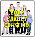 FAMILY (PERSONALISED) WITH PHOTO - SET OF NOVELTY COASTERS - GIFT - BRAND NEW