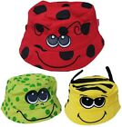 kids boys girls bush bucket animal sun hat ladybird bee frog hats new cotton