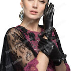 Women's Genuine Leather Gloves For Women Black Driving Gloves Flounced Cuff