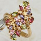 Size 6 7 8 9 Super Gorgeous Colorful Gems Yellow Gold Filled Women Ring R1894
