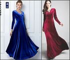 Sexy Cocktail Women Gorgeous V Neck Velvet Party Evening  Long Sleeve Maxi Dress