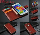 Genuine Leather Wallet Card Holder Flip Stand Case Cover Samsung Galaxy S3 S4 S5