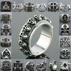 Men's Heavy Stainless Steel Red Zircon Cross Jesus Love Hope Finger Ring Jewelry