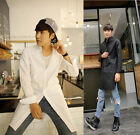 New Men's Gothic Slim Fit Button Front Casual Street Long Shirt Top Black White