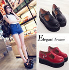 Hot Sale New Fashion Woman Flats Creeper T-Straps Round Toe High Platform Shoes