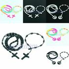 New Unisex Silicone Rubber Cross Peace Sign Charms Chain Bracelet Necklace Set
