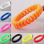 New 1Pair Silicone Rubber Elastic Woven Chain Link Wristbands Bracelets Bangle