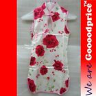 Chinese Shanghai Cheongsam Qi Pao Red Flower Rose Sleeveless Lunar New Year
