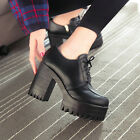 Women Punk Block High Heel Ankle Boots Gothic Platform Creeper Lace Ups Shoes