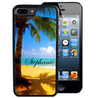 PERSONALIZED RUBBER CASE FOR iPHONE 5S 5C SE 6 6S 7 8 X PLUS TROPICAL BEACH