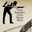 SNOOKER PLAYER PERSONALISED CLUB WALL ART STICKER TRANSFER POOL CLUB DECAL