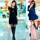 Women Lace Loose Casual Knit sweater Dress Crewneck Cardigan Long Pullover LM