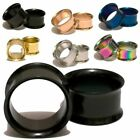 Pair Double Flared Titanium Stainless Steel Ear Tunnels Plugs Gauges Earrings image
