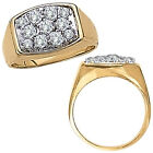 2.25 Carat White Diamond Designer Cluster Mens Promise Ring 14K Yellow Gold