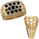 2.25 Carat Black Diamond Designer Fancy Cluster Men Wedding Ring 14K Yellow Gold