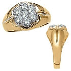 1.5 Carat White Diamond Cluster Design Gents Engagement Ring 14K Yellow Gold