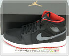 2015 DS Nike Air Jordan 1 Mid Black Cool Grey Red Bred 554724-004 US 11.5 AJ1