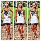 Women's Summer Sexy Lace Floral Casual Short Evening Cocktail Party Mini Dress L