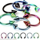 """2pcs.12G~1/2"""" Titanium Anodized 316L Horseshoe Circular with Cone Spike Earrings"""