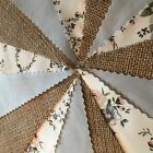 .FABRIC HESSIAN  VINTAGE BUNTING.WEDDINGS,COUNTRY FLORAL SHABBY CHIC,