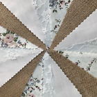 20% OFF.FABRIC HESSIAN  VINTAGE BUNTING.WEDDINGS,COUNTRY FLORAL SHABBY CHIC,