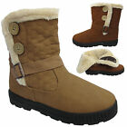 LADIES WOMENS RUBBER SOLE SNOW FUR LINED VELCRO ANKLE BOOTS SHOES UK 3 4 5 6 7 8