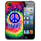 PERSONALIZED RUBBER CASE FOR iPHONE 5 5S 5C SE 6 6s 7 PLUS TIE DYE HIPPIE PEACE