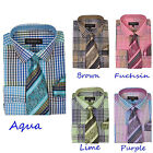 New Men's Check Design Dress Shirt With Matching Tie Hanky George's AH-627