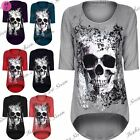 Womens Ladies Skull Butterfly Printed Dip Hem Hi Lo Tunic Dress Top Plus Size