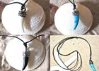SHAPED SHARK TOOTH PENDANT BLACK CORD NECKLACE BLUE WHITE OR BLACK men women
