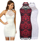 Women Sexy Contrast Lace Backless Prom Wedding Formal Evening Party Dresses 6-16